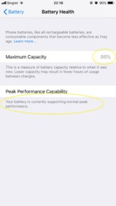 iiPhone Battery health check
