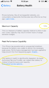 iPhone Battery health check below 80%. It is due for a phone battery replacement immediately